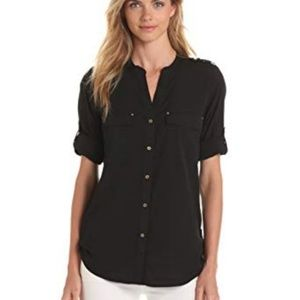 Women's Calvin Klein Satin Button Down Blouse